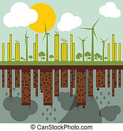 verde, ecología, ciudad, ilustración, contra, contaminación, concepto, plano de fondo, vector