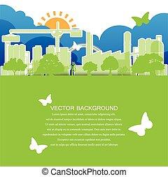 verde, ecologia, città, concetto