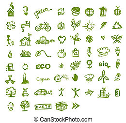 verde, ecologia, icone, per, tuo, disegno