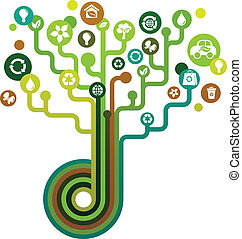 verde, ecologico, albero, icone