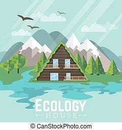 verde, ecology., house., paesaggio