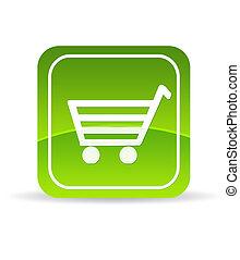 verde, ecommerce, icona