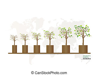 verde, economia, conceito, :, gráfico, de, crescendo, sustentável, meio ambiente, com, business., vetorial, illustration.
