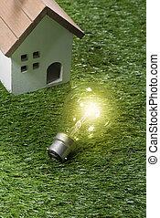 verde, edificio, casa, y, energía, ahorro, concepto