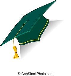verde, educación, taza, con, dorado, elements., graduación,...