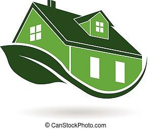 verde, efficiente, casa, logotipo, environ