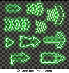 verde, encendido, conjunto, flechas, neón