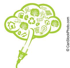 verde, enchufe, -, energía eléctrica, concepto