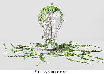 verde, energía, concepto, con, foco, y, planta verde