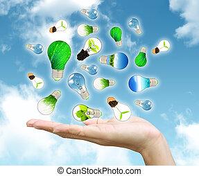 verde, energía, concepto