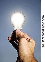 verde, energía, soluciones, con, foco