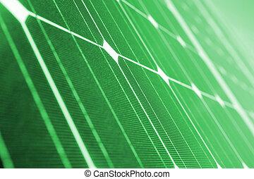 verde, energía, verde, panel solar