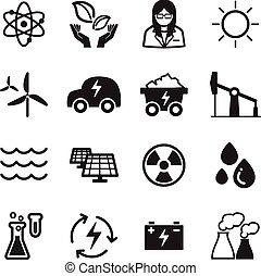 verde, energia, ícones tecnologia