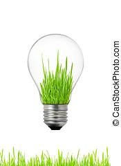 verde, energia, concept:, bulbo leve, com, capim, dentro