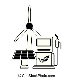 verde, energia, ecologia, pretas, branca