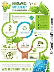 verde, energia, infographics, vetorial