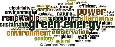 verde, energia, palavra, nuvem