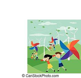verde, energia, risparmiare, -, terra