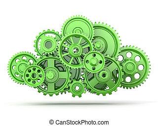 verde, engranajes
