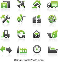 verde, envío, iconos