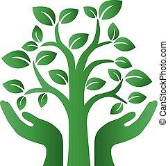verde, environ, albero, logotype, ambiente