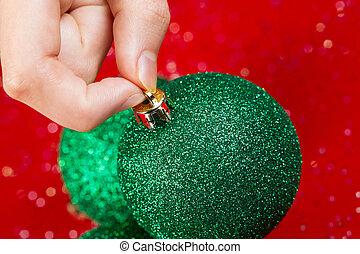 verde, Escoger, ornamento, Arriba, navidad