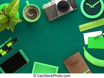 verde, escritorio, vista, de, espacio de trabajo
