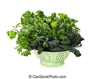 verde escuro, legumes copados, em, colander
