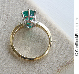 verde, esmeralda, anel