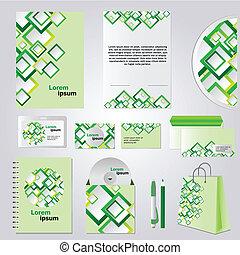verde, estilo, incorporado