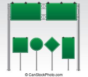 verde, estrada, ilustração, sinal