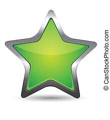 verde, estrela, ícone