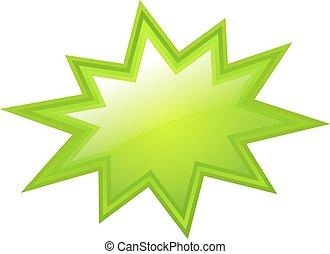 verde, estrela, estourar