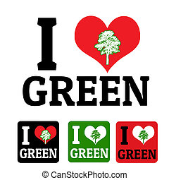 verde, etichette, amore, segno