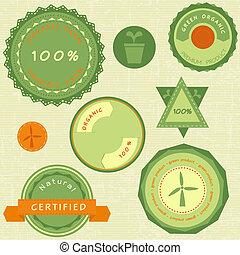 verde, etichette, organico, retro, collezione