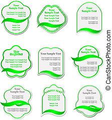 verde, etichette, set