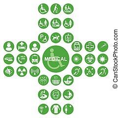 verde, exame médico saúde, cuidado, ícone, cobrança