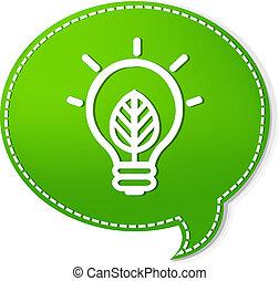 verde, fala, bolhas, com, lâmpada, símbolo