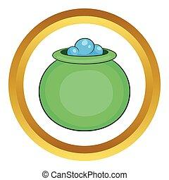 verde, feiticeira, cauldron, com, poção, vetorial, ícone