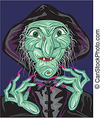 verde, feiticeira, rosto