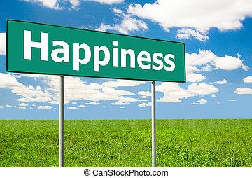verde, felicidade, sinal estrada