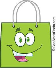 verde, feliz, bolso de compras