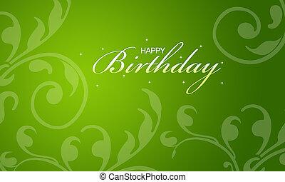 verde, feliz cumpleaños, tarjeta