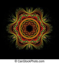 verde, fiore, fractal, rosso