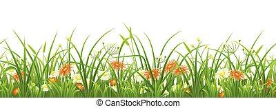 verde, fiori, erba, seamless