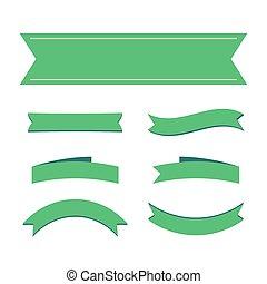verde, fita, bandeiras, em branco, decoração