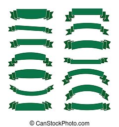 verde, fita, bandeiras, jogo, bonito, em branco, decoração
