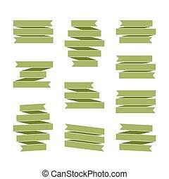 verde, fita, bandeiras, jogo, em branco, decoração