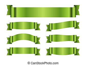 verde, fita, bandeiras, jogo, seda