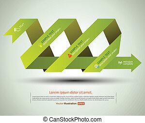 verde, fita, com, ícone